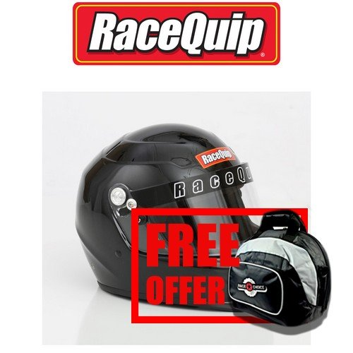 RaceQuip 273005 Gloss Black Large PRO15 Full Face Helmet (Snell SA-2015 Rated) - Free Deluxe Helmet Bag Included ()
