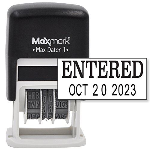 MaxMark Self-Inking Rubber Date Office Stamp with ENTERED Phrase & Date - BLACK INK (Max Dater II), 12-Year Band (Date Stamp Phrase)