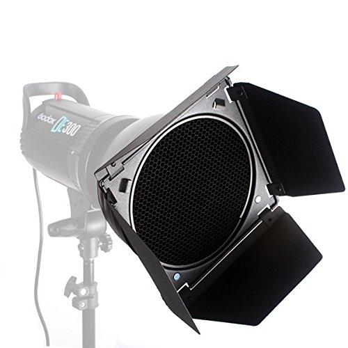 GODOX photography barn door,Honeycomb Grid with 4 Color Gel Filter for Speedlite Flash Standard Reflector