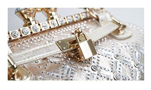 GSHGA Bolsos Para Las Mujeres Hombro Crossbody Rhinestones Platinum Paquete Bolso Con Cerradura,Silver Gold