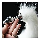 Dog Tail Anal Plug Sexy Toys Metal Fake Fur Fox Butt Plug BDFlirt Anus Plug for Women Adult Games Product for Couples White