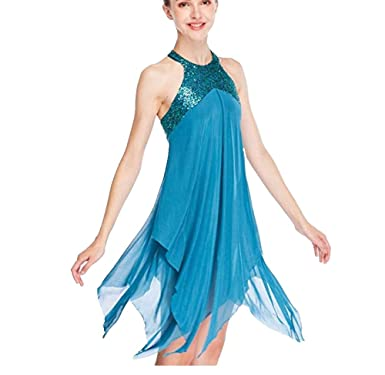 402a0a5f4973 TiaoBug Kids Girls Lyrical Modern Contemporary Dance Outfits Floral Sequins  Celebration of Spirit Praise Lyrical Dance
