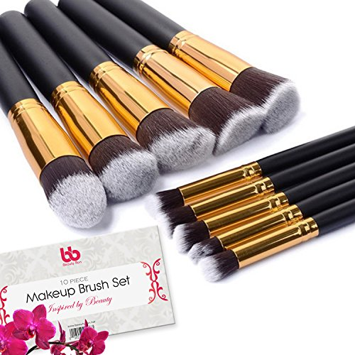 Professional Kabuki Makeup Brushes Set – 10 Pc Cosmetic Foundation Make up kit – Beauty Blending for Powder & Cream – Face & Lip Bronzer Concealer Contour Brush – Beauty Bon (Gold)