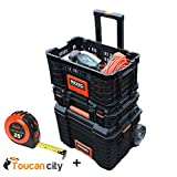 RIDGID Professional Tool Storage Pro Gear Cart, Organizer, Basket Box 22'' AND Toucan City 25 ft. Tape Measure