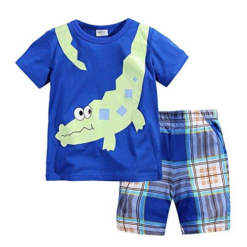 Little Boys Crocodile Short Sleeve Set 2Pcs (Blue,5/6Y)