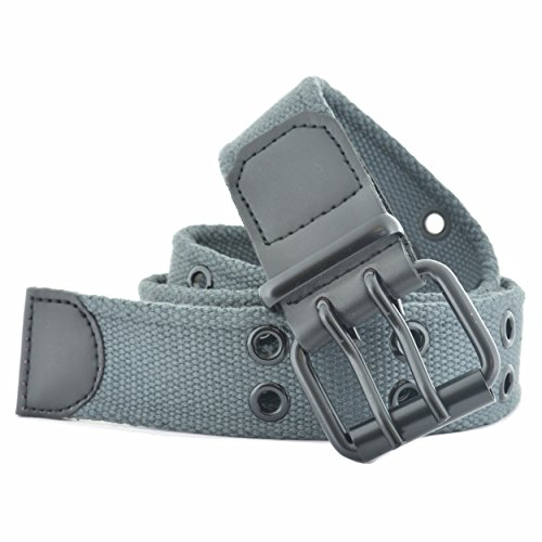 Faddism Unisex Double Hole Grommets Canvas Web Belt - Grey - Canvas Belt Zebra