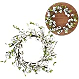 Cotton Boll Wreath Farmhouse Chic Fall Artificial Cotton Wreath with Artificial Green Leaves for Door or Wall Art Wedding Centerpiece Decor