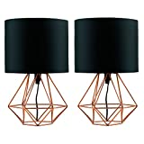 Pair of - Modern Copper Metal Basket Cage Style Table Lamps with a Black Fabric Shade