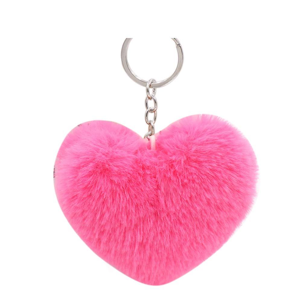 Shineweb Love Heart Pom Pom Ball Key Chain Key Ring Keyring Keyfob Handbag Pendant Keychain Charm Rose Red