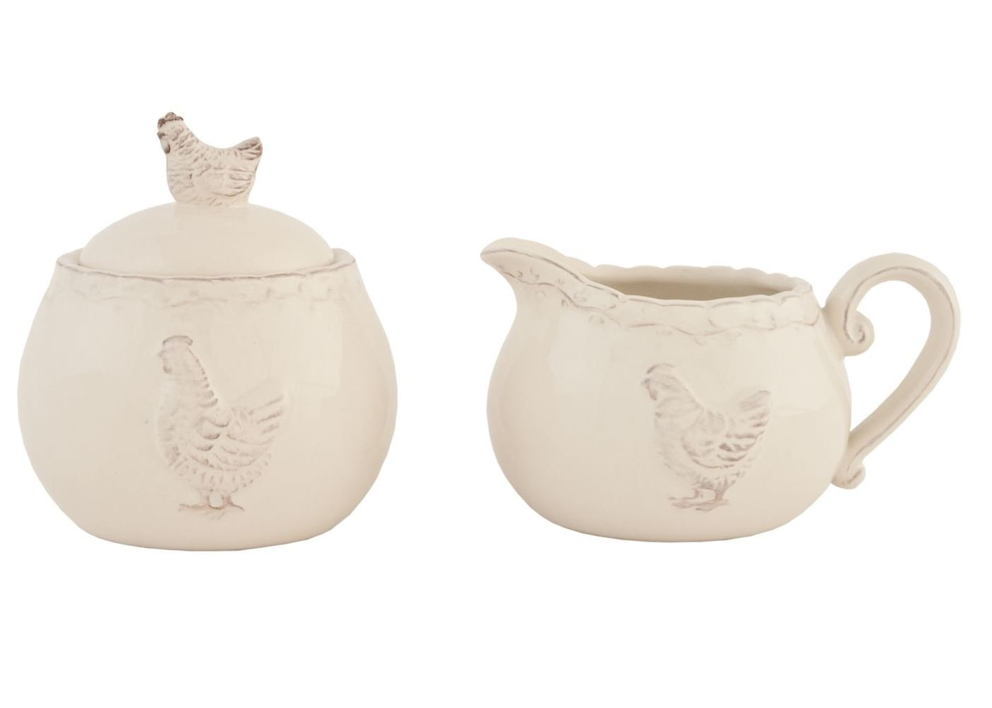 LUXURY NORDIC CHICKEN HEN SUGAR BOWL MILK JUG PORCELAIN GLAZE CREAM HEATHER Kitchen Unique