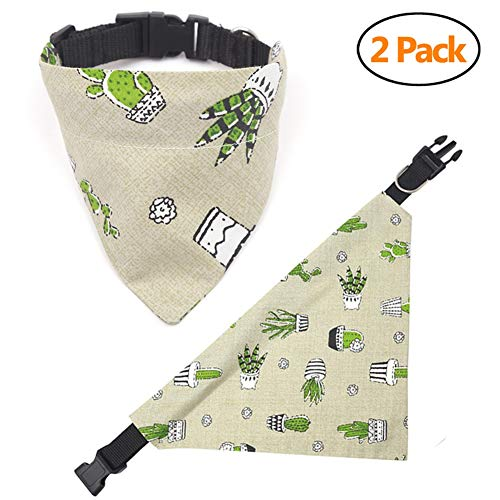 AOFITEE Dog Bandanas 2 Pack, Reversible Puppy/Cat Triangle Bibs Scarfs with Adjustable Buckle, Cherry/Plants Print Pet Kerchief Accessories for Small Medium Large Dogs -