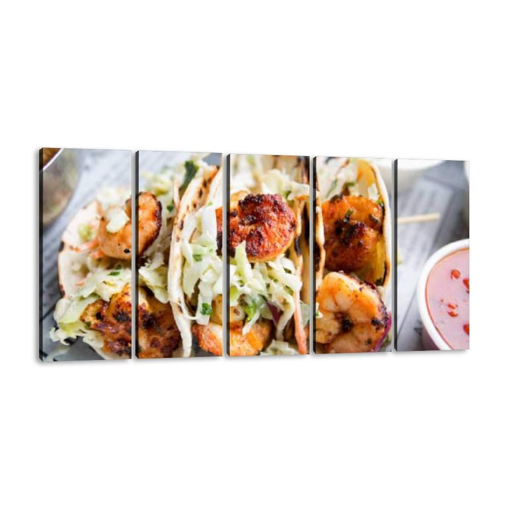 Grilled Shrimp Tacos 5 Panel Wall Art Canvas for Home Decor Paintings Contemporary Artwork Framed Ready to Hang Posters and Prints (60''Wx32''H) by SIIKEI
