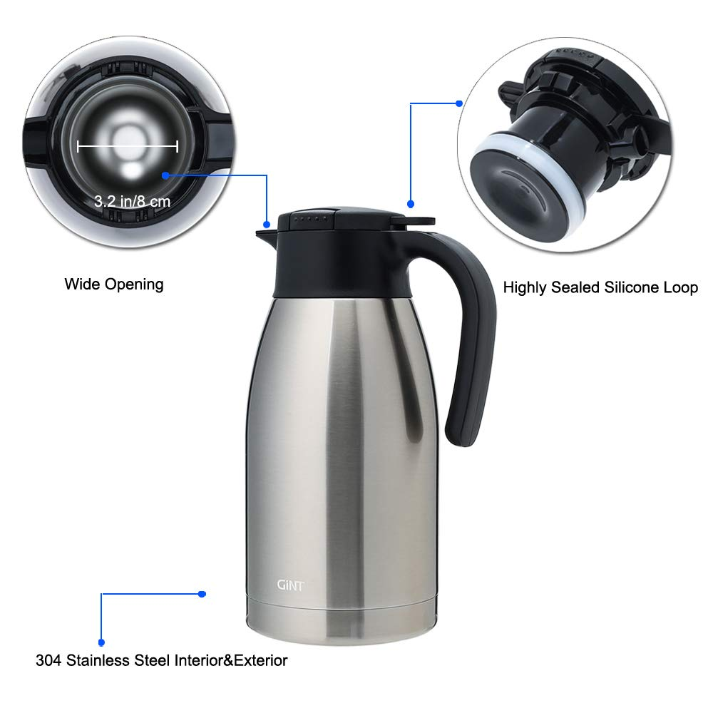 GiNT Stainless Steel Thermal Coffee Carafe with Lid/Double Walled Vacuum Thermos / 12 Hour Heat Retention,1.9L, Silver by GiNT (Image #3)