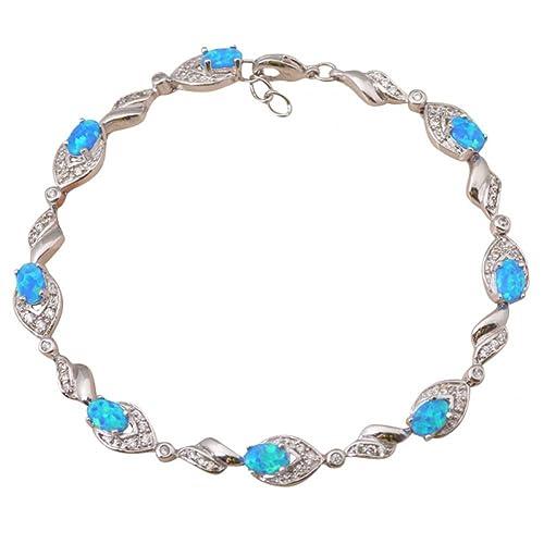 15c1b23c89d2 Anzona vender azul Fire Opal Plata de Ley 925 Pulseras Regalos de cumpleaños  Opal Joyería ob014  Anzona  Amazon.es  Joyería