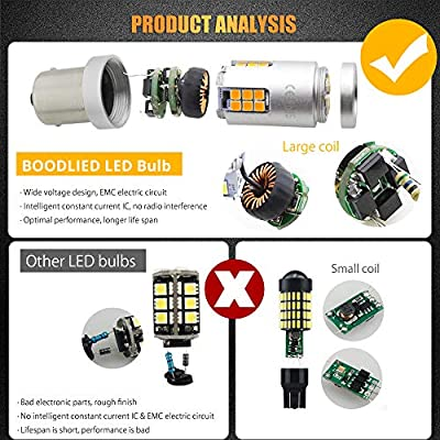 BOODLIED 20Watts No Hyper Flash 1156 LED Bulbs High Power 3030 30-SMD Chips P21WY 7507 BAU15S LED Lamps For Backup Reverse Lights,Turn Signal Lights.(No Load Resistor Required) Amber/Yellow: Automotive