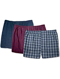 Big Mens Lightweight Woven Boxers Underwear 3-Pack Assorted Plaids