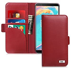 OnePlus 5T Case, FYY [RFID Blocking wallet] Genuine Leather 100% Handmade Wallet Case Credit Card Protector for OnePlus 5T Wine Red