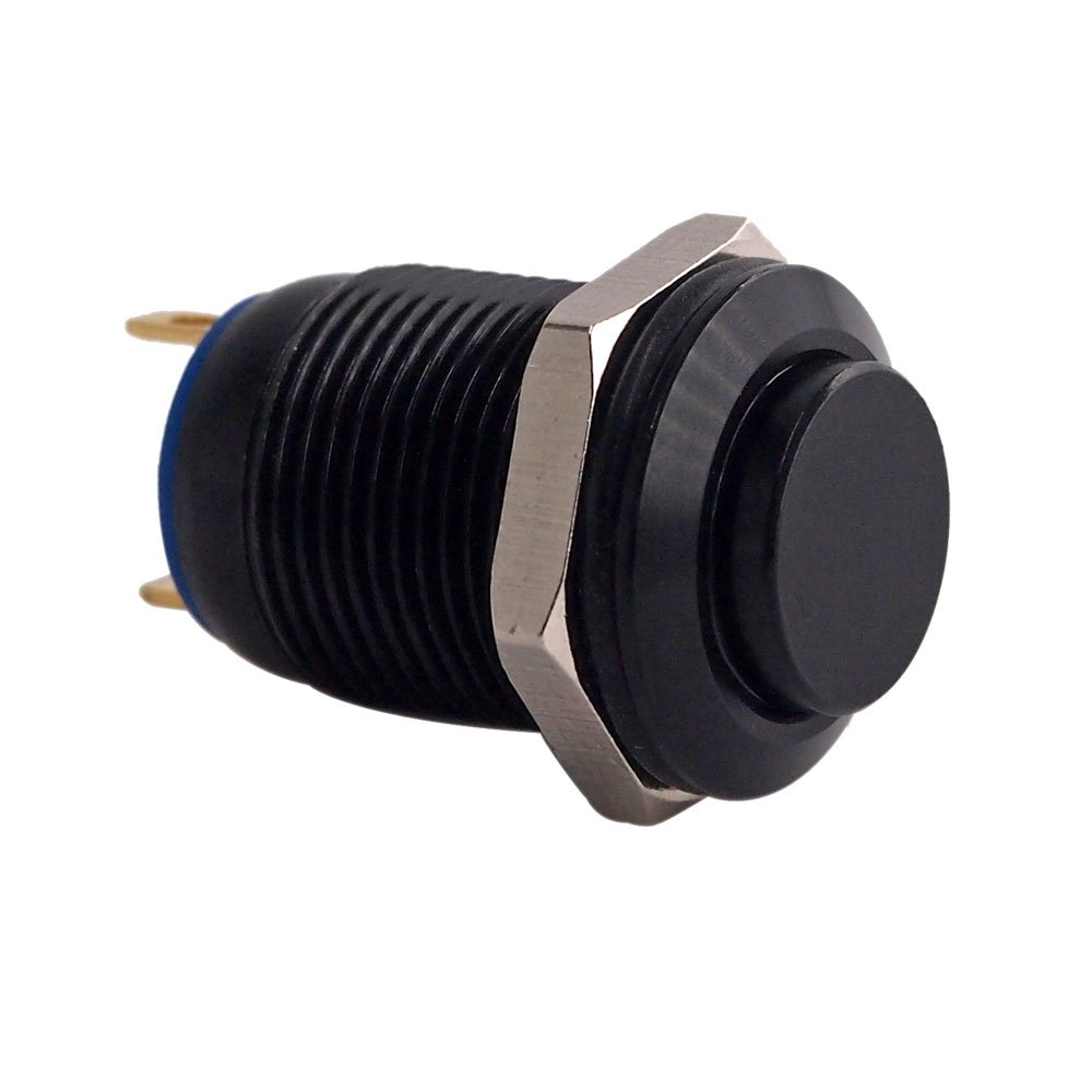 """Momentary Push Button Switch, URTONE UR125, 1NO SPST DC/AC 36V 2A Aluminum Alloy Metal Shell Suitable for 12mm 1/2"""" Mounting Hole (Black)"""