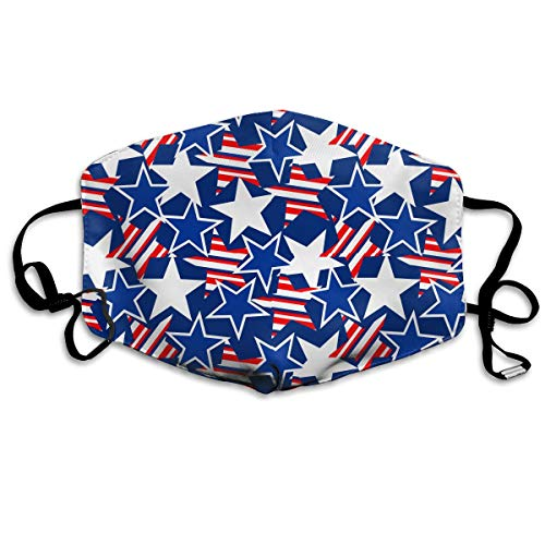 (IEHFE MCNXB American Patriotic Stars and Stripe Unisex Flu Dust Masks Reusable, Adjustable Ear Loops Safety Mask for Outdoor Cycling Earloop Masks Pollen Germs Allergens Masks)