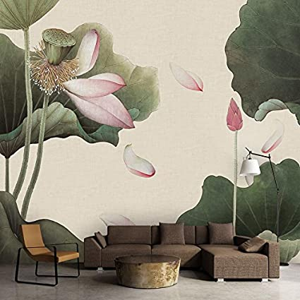 Huangyahui Mural Lotus Flower Wallpaper Living Room Bedroom Tv