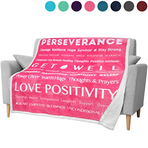 PAVILIA Healing Thoughts Blanket, Sherpa Fleece Throw for Women | Positive Energy Inspirational Gift Warm Hugs Prayer Blanket | Get Well Soon Gift Blanket for Cancer Hospital Patient | 50x60 in (Pink)