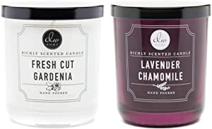 DW Home 4 oz Richly Scented Candles Set of 2 in Gift Box (Lavender Chamomile/Fresh Cut Gardenia)