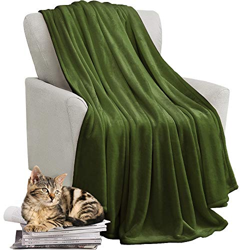 KAWAHOME Fleece Blanket Lightweight Fuzzy Microfiber Throw Blankets All Season for Bed Couch Sofa Queen Size 90 X 90 Inches Olive Green ()
