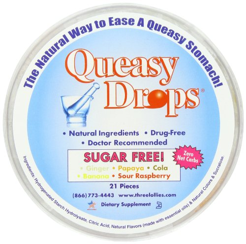 Three Lollies Queasy Drops | Sugar Free | Assorted for Nausea Relief | Ginger | Papaya | Cola | Banana | Sour Raspberry | 21 Drops (Lollipop Free Sugar)