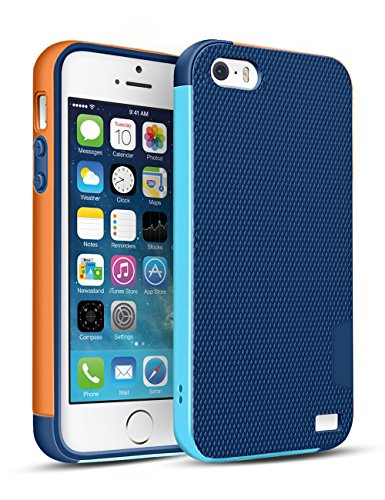 iPhone SE Case, OFTEN iPhone 5/5S/SE Case Shock Absorbing Hybrid Best Impact Defender Rugged Slim Protective Cover Shell w/ Grip Cute Mixed Color Design(Blue/Orange)