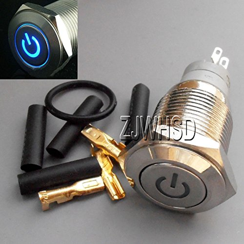 16mm 12V BLUE Led Lighted Push Button Metal MOMENTARY Switch + Connector O-ring[ABBOTT] - Lighted Keyless Entry