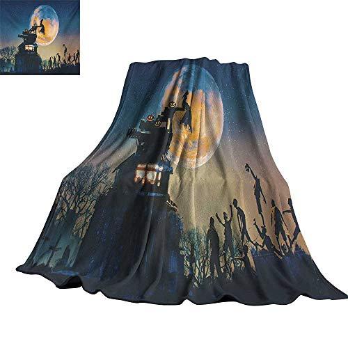 RenteriaDecor Fantasy World,Throw Blankets Dead Queen in Castle Zombies in Cemetery Love Affair Bridal Halloween Theme All Season Blanket 80