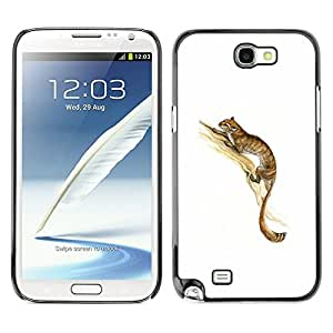 LECELL--Funda protectora / Cubierta / Piel For Samsung Galaxy Note 2 N7100 -- Long Tail Animal Forest Brown Tree Cute Cat --