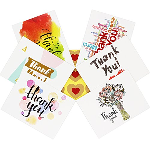 36 Assorted Thank You Cards with Envelopes and Envelope Seals, Unique Design for Wedding, Birthday, Shower, Etc - 4.75 x 3.5 Inches