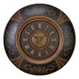 Deco 79 35017 Wood Leather Wall Clock with Royal Look