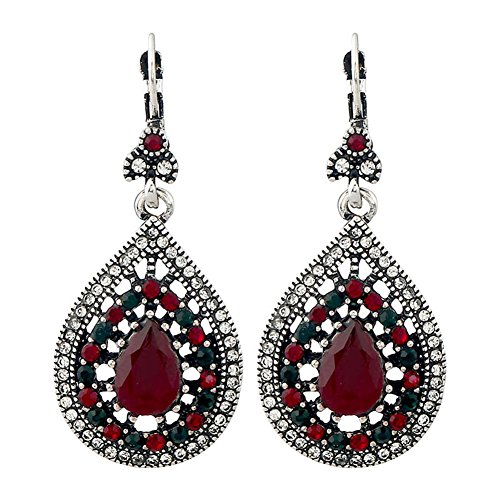 Bohemian Vintage Red With Green Teardrop Dangle Earrings for Women Girls