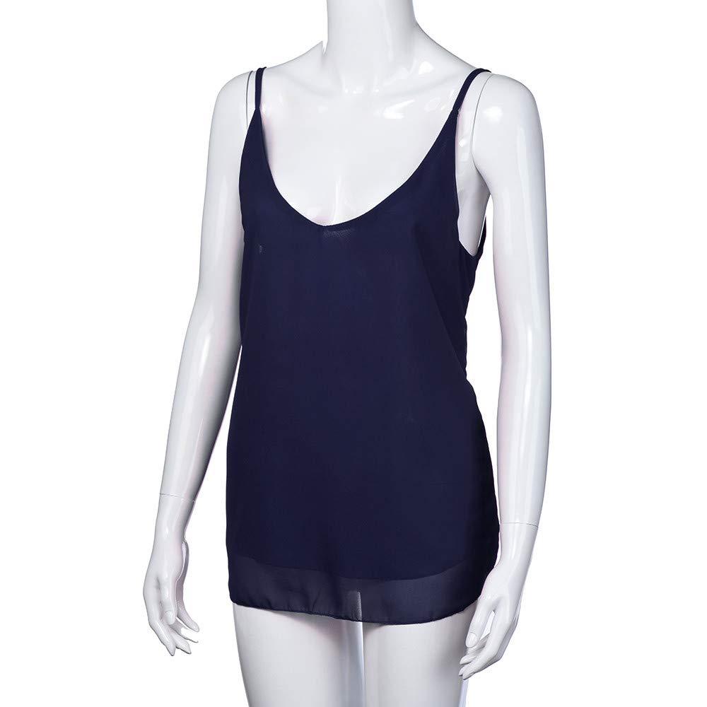 iLUGU Women V Neck Tank Top Sleeveless Chiffon Cami Shirt Vest Blouse Us Polo Dark Blue by iLUGU (Image #4)
