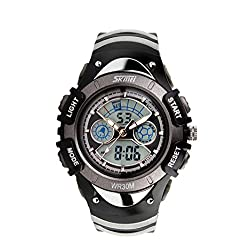 Cool Kids Analog Digital Sports Watch Grey Children's Silicone Band Dual Time Zones Fashion Watch Gift