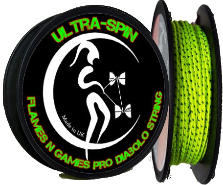 """ULTRA-SPIN"" Pro Diabolo String UV Yellow / 10m reel of Diablo String for ANY type of Diabolos Handsticks. Flames 'N Games"