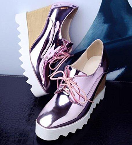 Easemax Dames Trendy Metalen Veter Vierkante Neus Platform Hoge Sleehak Sneakers Roze