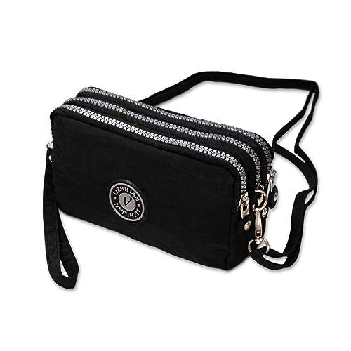 ad9367e245e4 3 Layers Zipper Handbag Nylon Crossbody Shoulder Bags Phone Pouch Case  Wrist Bag