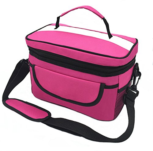 Top Grade Oxford Cloth Cooler Bag,Lunch Bag,Waterproof Thermal Insulated Picnic Tote Bag with Adjustable Shoulder Strap and Zipper - Lunch Bag for Kids Women(Rose)