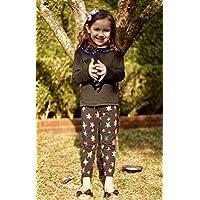 Calça Leggings Infantil Preto com Estrelas Coloridas