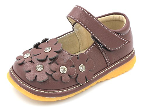 Little Mae's Boutique Squeaky Shoes | Brown Crystal Flowers Mary Jane Toddler Girl Shoes ()