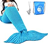 LAGHCAT Mermaid Tail Blanket Crochet Mermaid Blanket for Kids, Soft All Seasons Sleeping Blankets, Classic Pattern (56