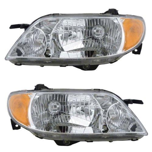 2001-2002-2003 Mazda Protege 4-Door Sedan Front Head Light Lamp Headlamp Headlight (with Chrome Bezel) Pair Set Right Passenger AND Left Driver Side (03 02 (03 Mazda Protege 4 Door)