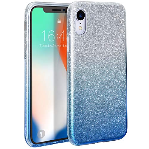 MILPROX iPhone Xs MAX Case Glitter Luxury Shiny Sparkly Silm Bling Crystal Clear, 3 Layer Hybrid, Protective Soft Case for iPhone Xs MAX(2018)- (Blue)