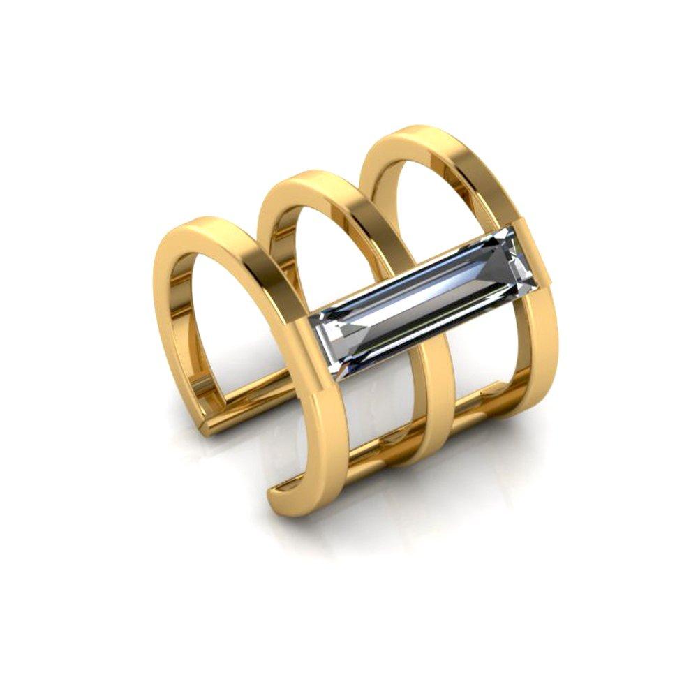 14K Yellow Gold Ear Cuff Crystal Baguette Stone CZ Earring No Piercing by ANTOANETTA
