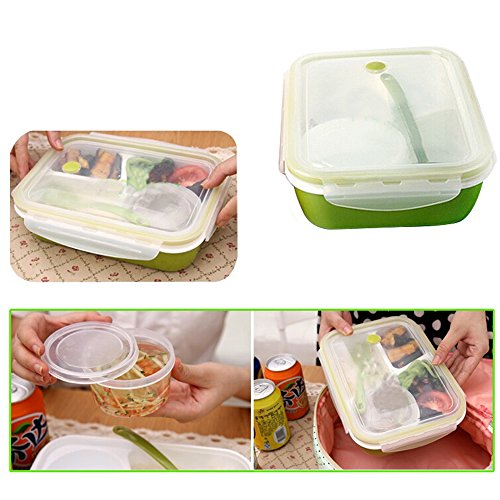 Price comparison product image Pevor Leakproof Rectangular Lunch Bento Box for Kids Adults, Microwave Safe Food Container 4 separate spaces(green color)