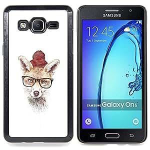 """Qstar Arte & diseño plástico duro Fundas Cover Cubre Hard Case Cover para Samsung Galaxy On5 O5 (Hipster Fox lindo"""")"""