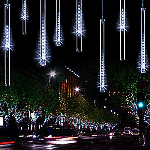 YSIM Meteor Shower Rain Lights,Twinkling Romantic Lights for Party, Wedding, Christmas, etc.11.8inch 8 Tubes(White)]()